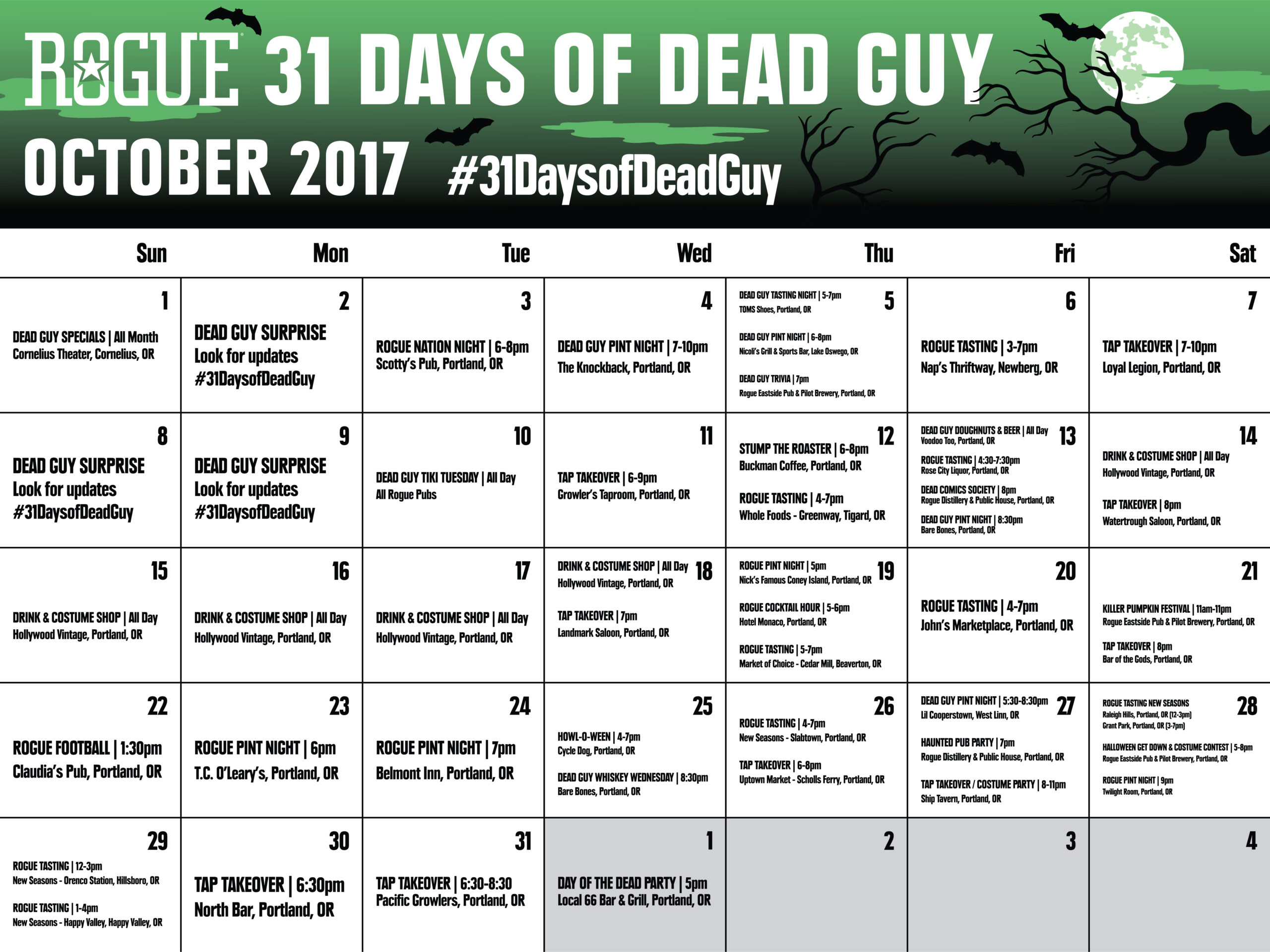 Rogue Ales Presents 31 Days Of Dead Guy  31 Day Monthly Schedule