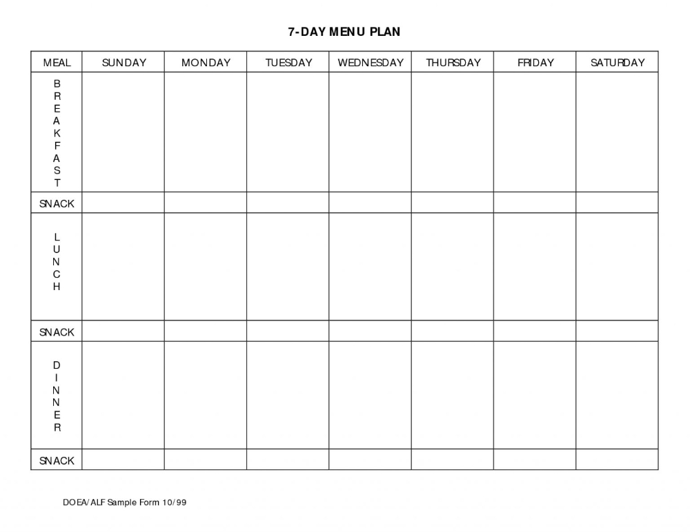 Seven Day Meal Planner - Akali In 7 Day Menu Planner  7 Day Planner Template