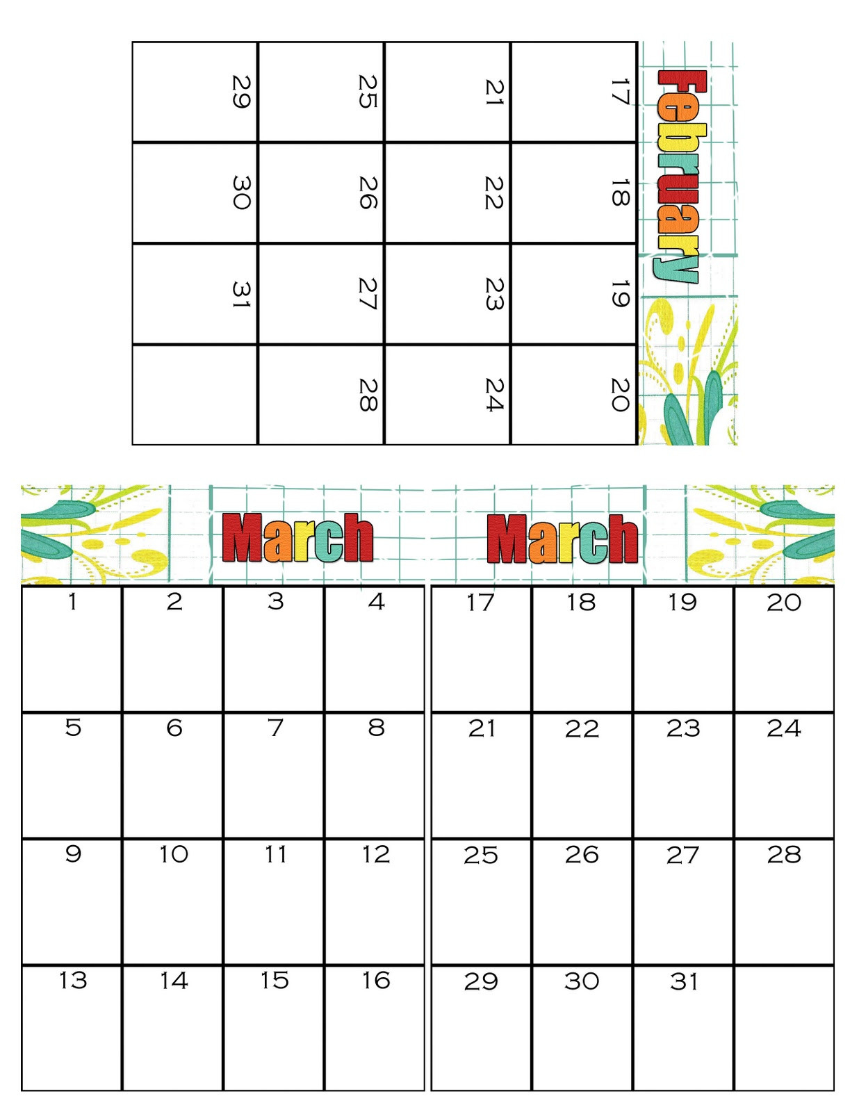 Simpsonized Crafts: Free Printable Birthday Calendar Using  Printable 4X6 Calendar Template