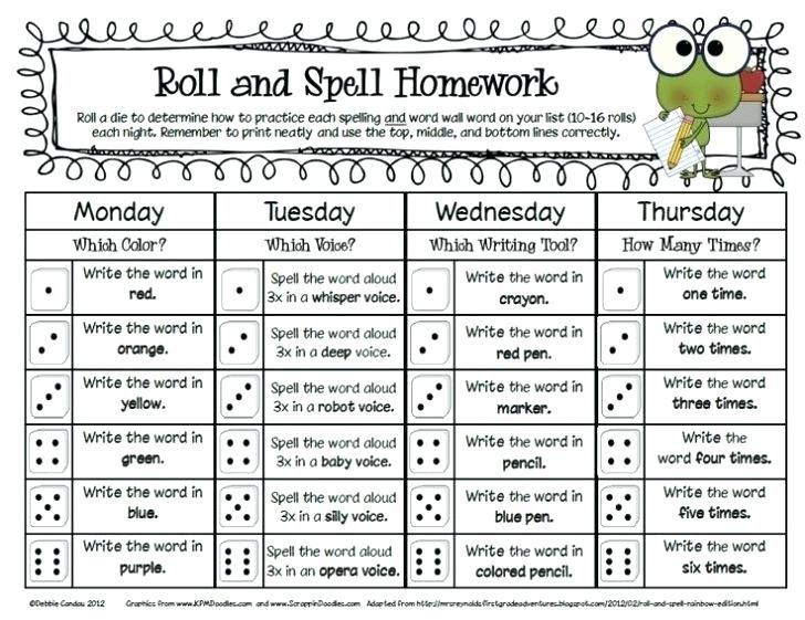 Spelling Homework Worksheets Spelling Homework Worksheets  Blank Assignment Sheet 1St Grade