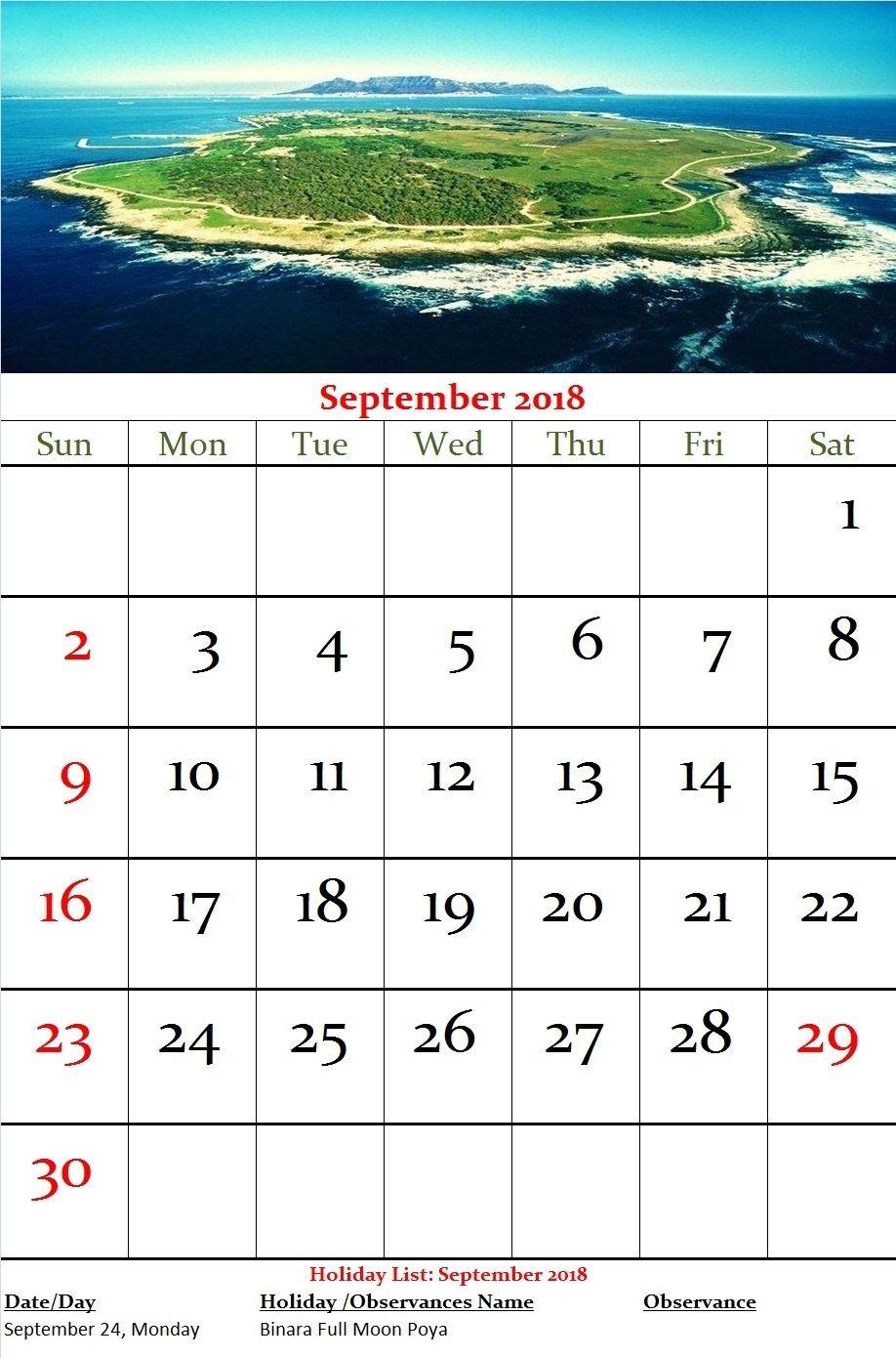 Sri Lanka Monthly Calendar September 2018  September Mercantile Holidays In Sri Lanka