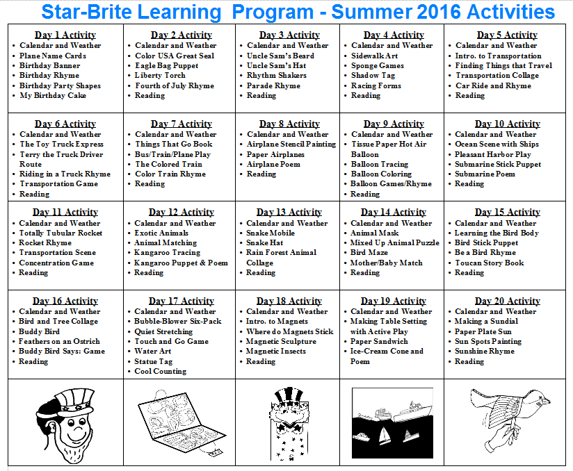 Star-Brite Learning Program  Toddleer Calendar Daily Activties For June July August