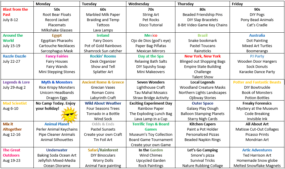 Summer Theme Camps - Thunder Bay Museum  Toddleer Calendar Daily Activties For June July August