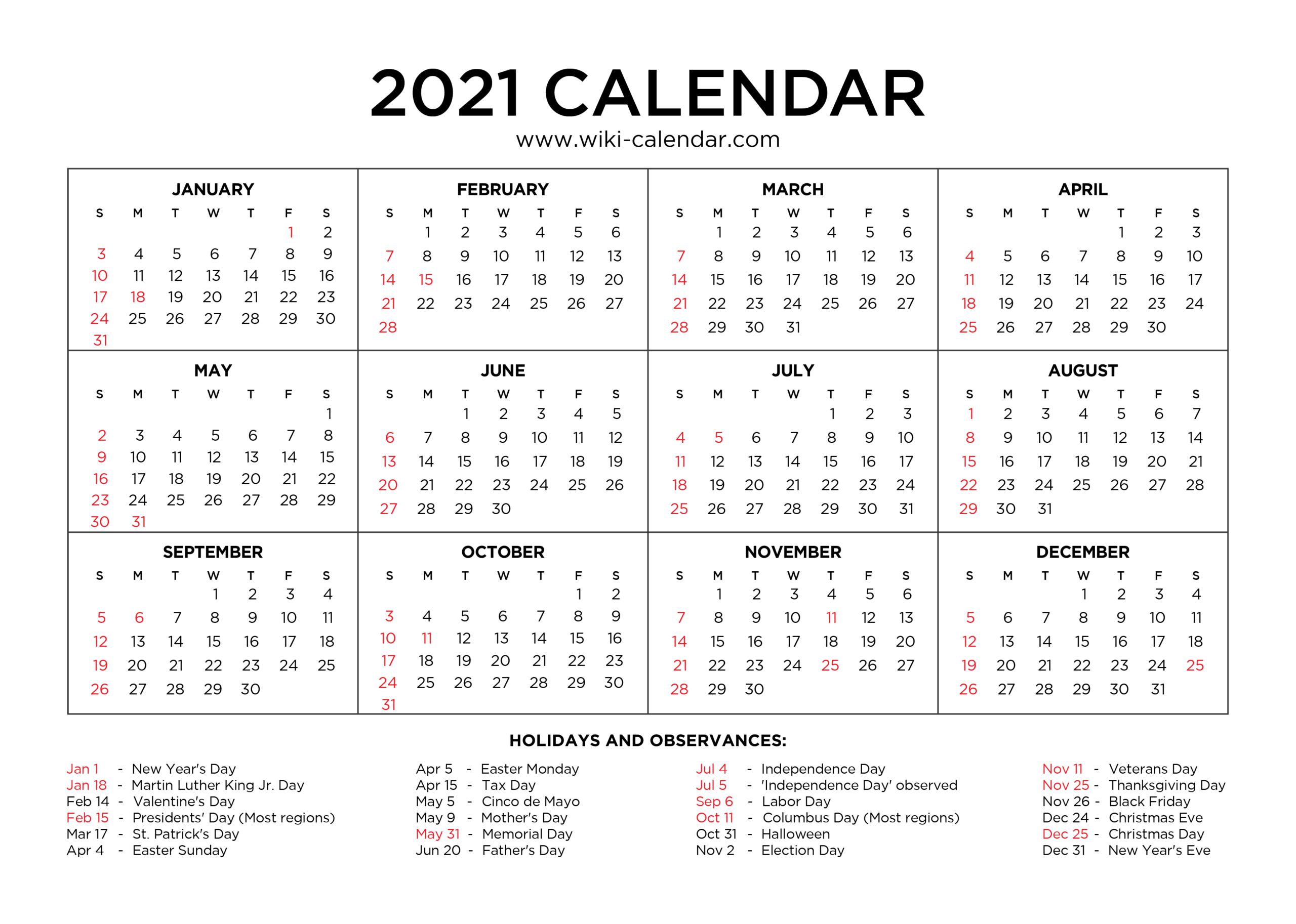 Sunday To Saturday Calendar 2021 Printable | Calendar  2021 Yearly Calendar Printable Free