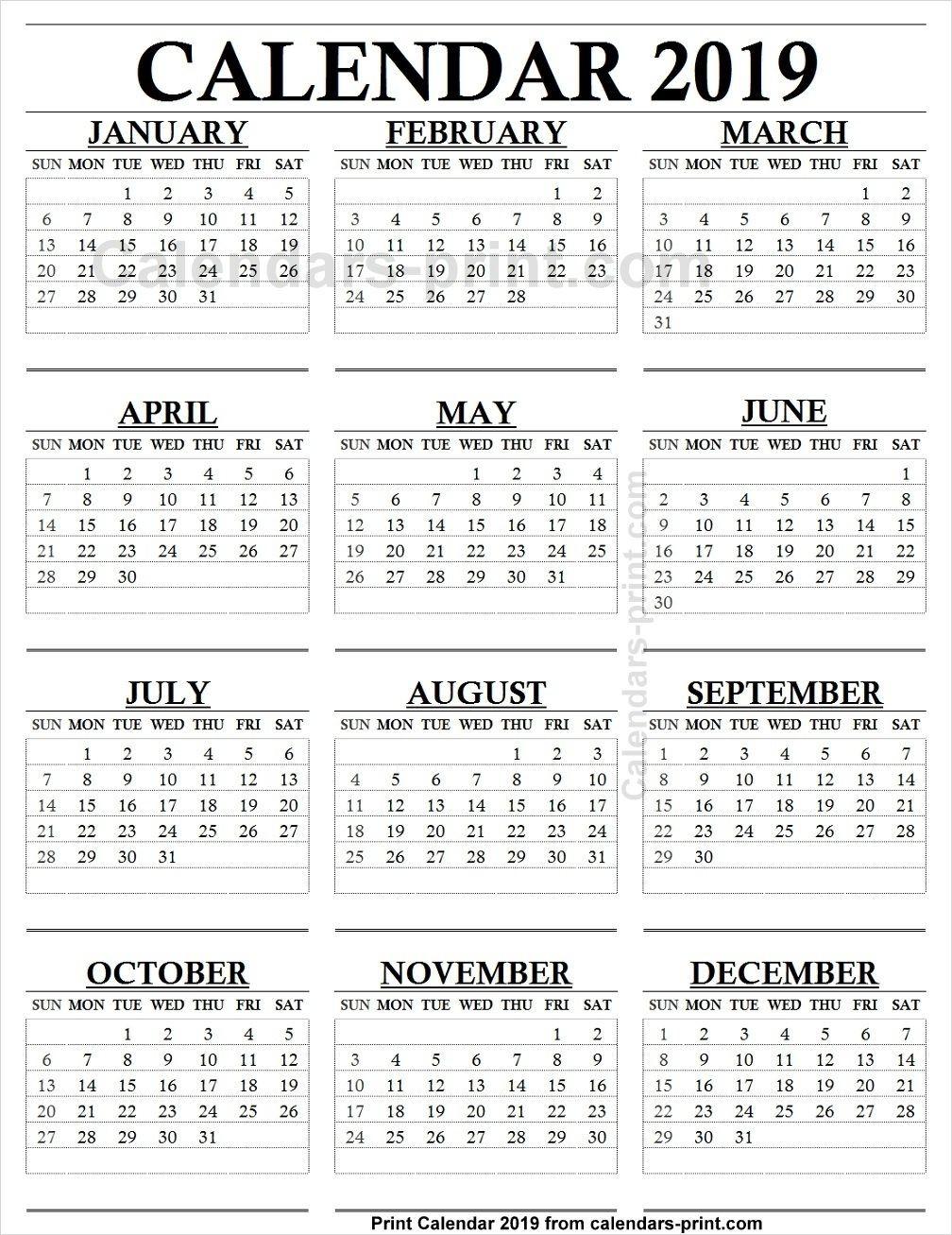 Take 2019 Blank Monthly Calendar Printable 12 Months  12 Month Calendar Printable