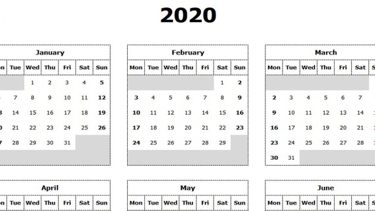 Take Yearly Calendar Printable 2020 Start On Monday  Yearly Calendar