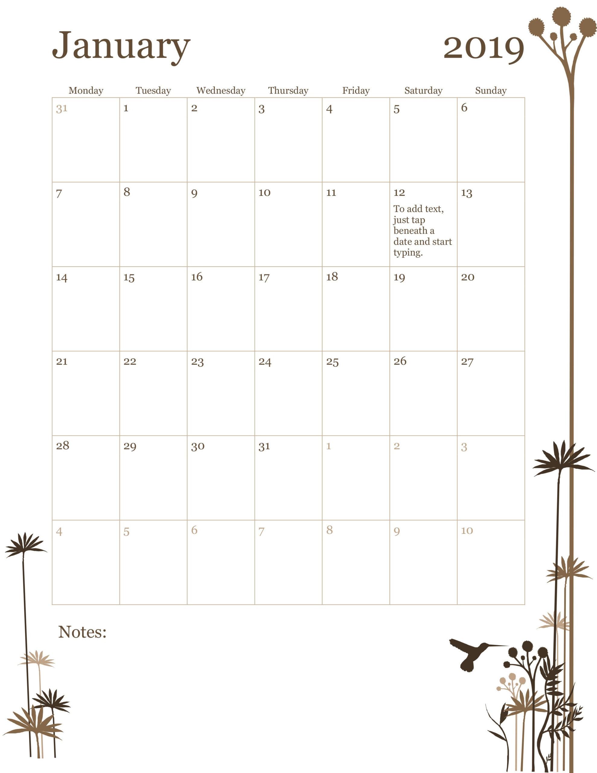 Template For Monthly Calendar | Calendar Template  12-Month Calendar Template
