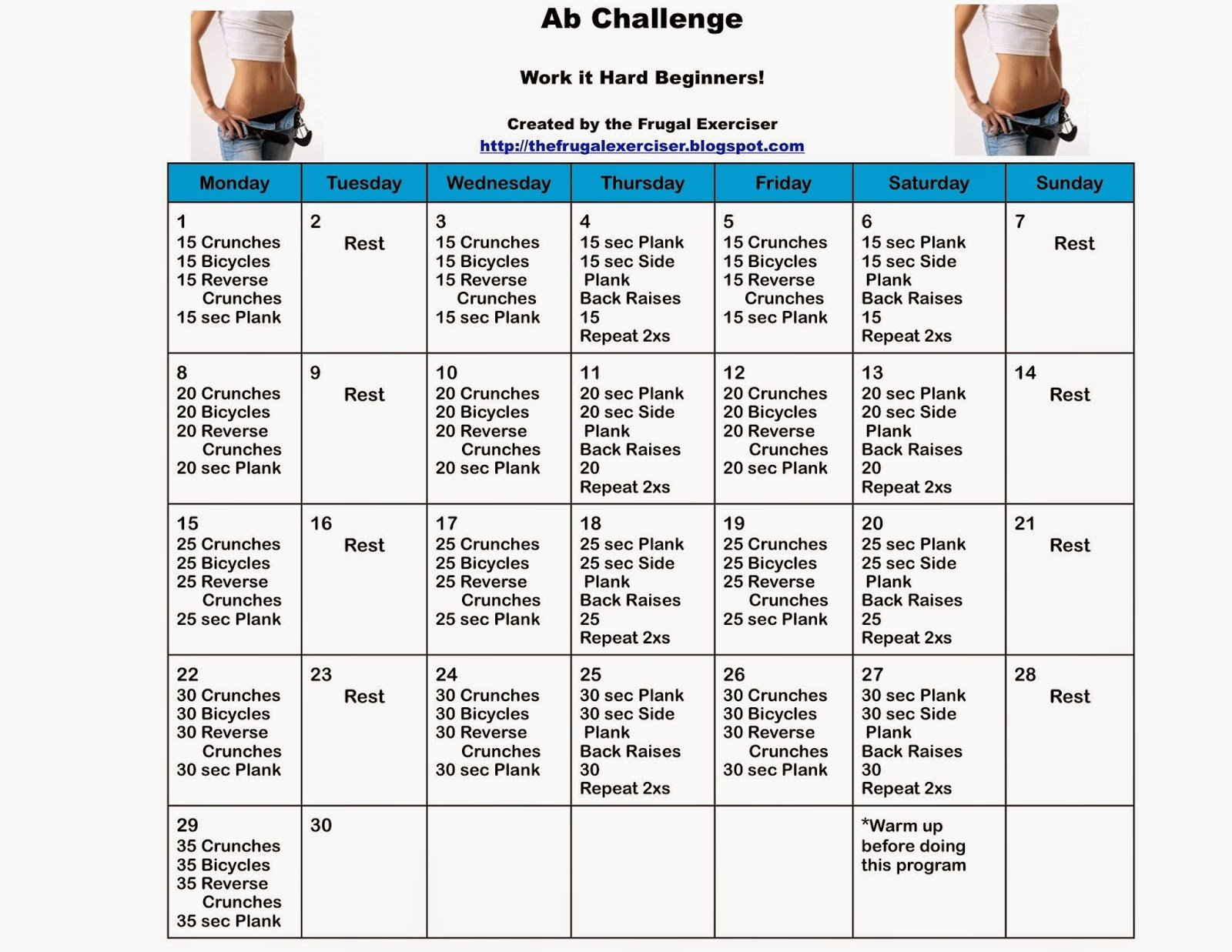 The 30 Day Ab Challenge For Beginners | The Frugal Exerciser  30 Day Advance Fitness Challenge Charts
