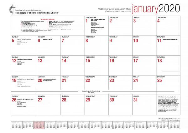 The Official United Methodist Program Calendar 2020  Liturgical Calendar Um Church