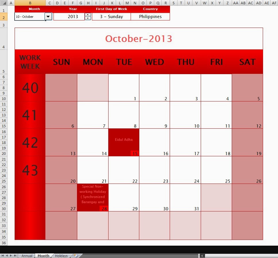 The Ultimate Annual-Monthly Microsoft Excel Calendar Template  Monthly Calendar Template