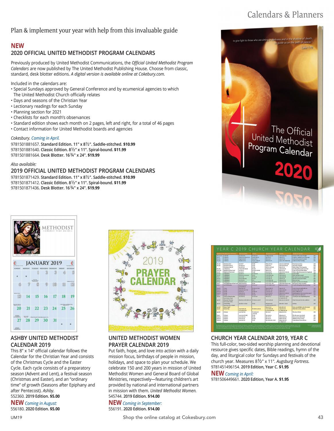 The United Methodist Church Resources For 2019 Catalog  2021  Methodist Lectionary Calendar
