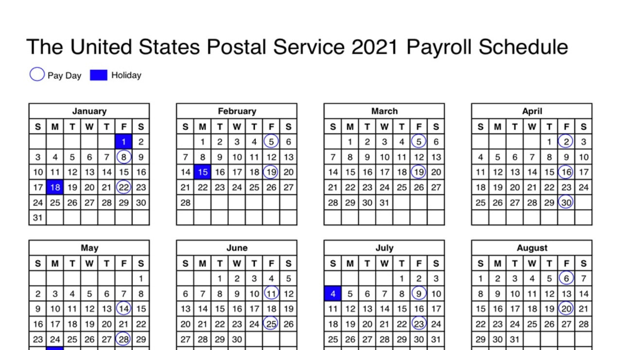 Usps Calendar Shows 2021 Payroll Schedule - Postal Times  2021Pay Calender Gs Employee