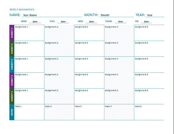 Weekly Assignment Sheet (Color, Landscape)  Blank  Assignment Sheet
