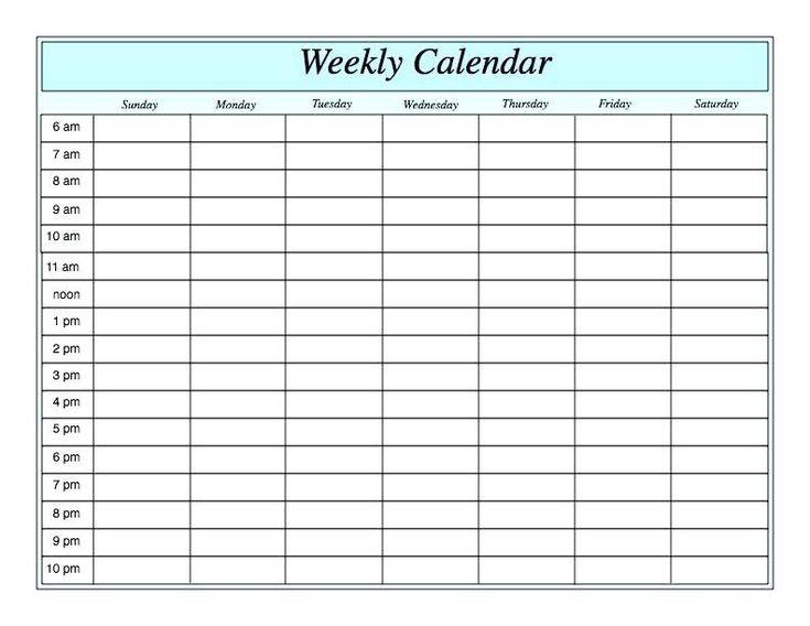 Weekly Blank Calendar Template #Blankcalendar #Template  Blank Calendar Printable With Lines