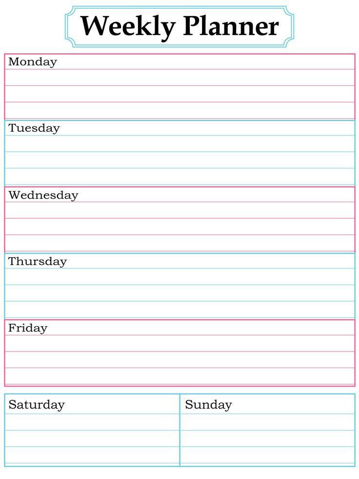Weekly Planner Printable. Nice, Simple, Clean Lines  7 Day Printable Weekly Calanders