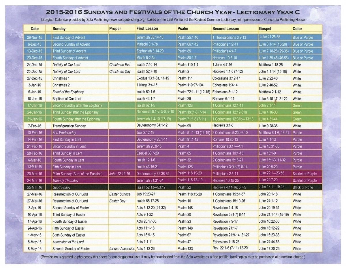 Year C Catholic Calendar   Ten Free Printable Calendar  2021  Methodist Lectionary Calendar