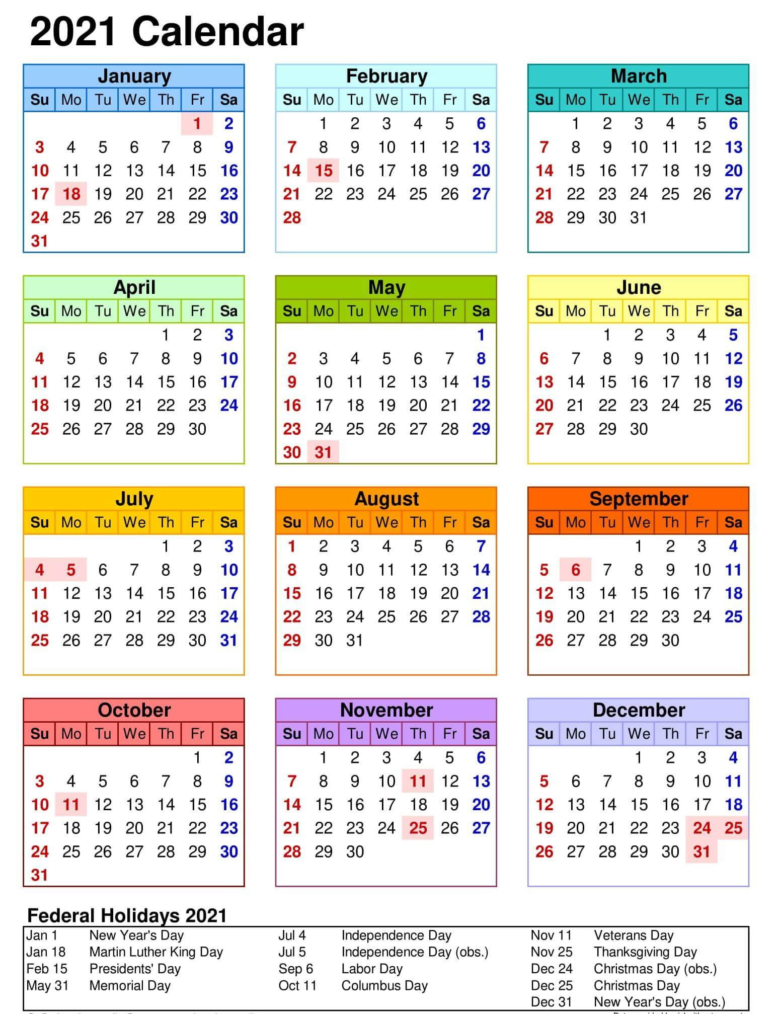 Yearly Calendar With Notes 2021 Editable Template - Set  Yearly Calendar