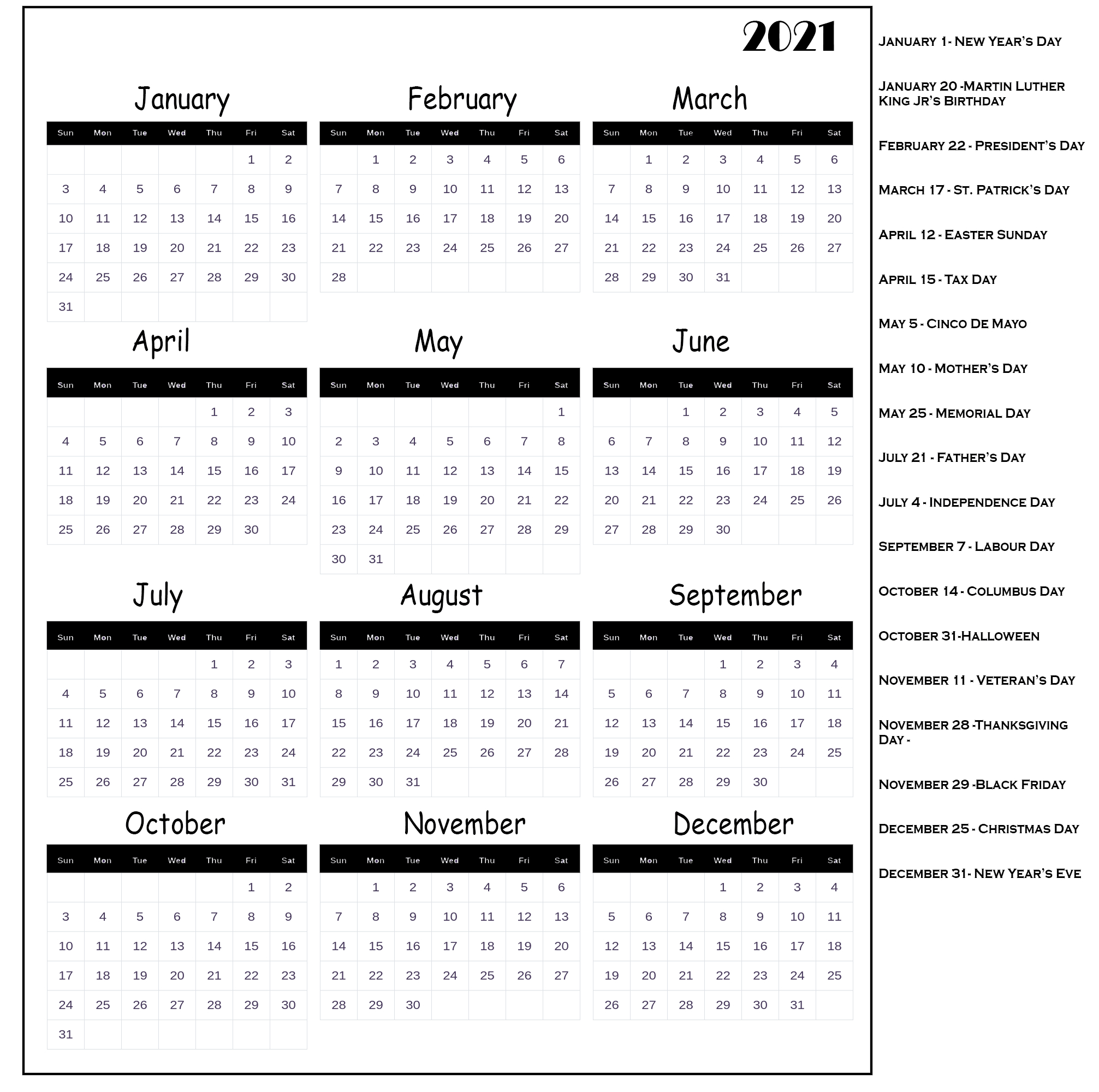 12 Month Free Printable 2021 Calendar With Holidays  2021 Yearly Calendar Printable Free With Notes