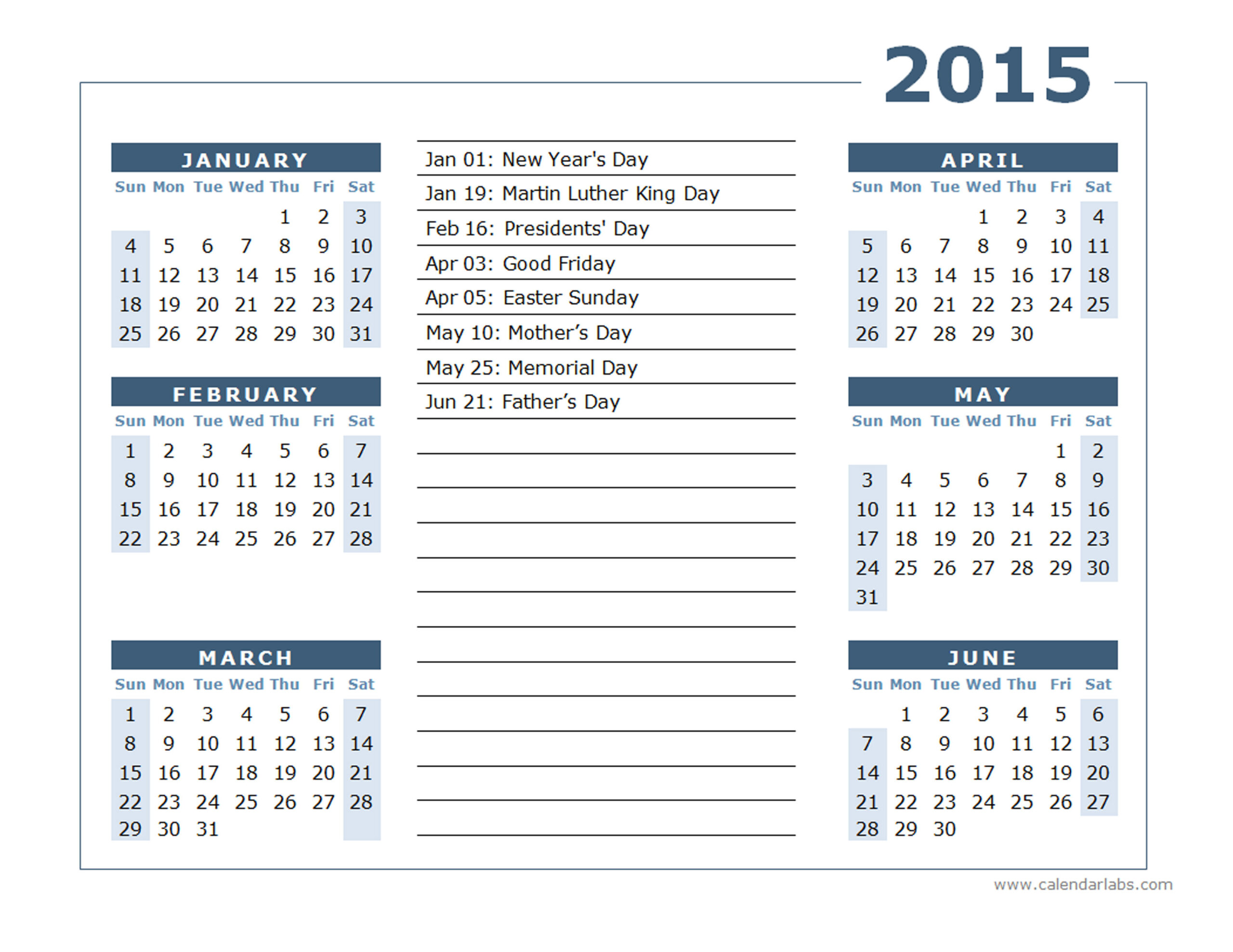 2015 Yearly Calendar Two Page 02 - Free Printable Templates  12 Month Financial Year Calendar 18 To 19