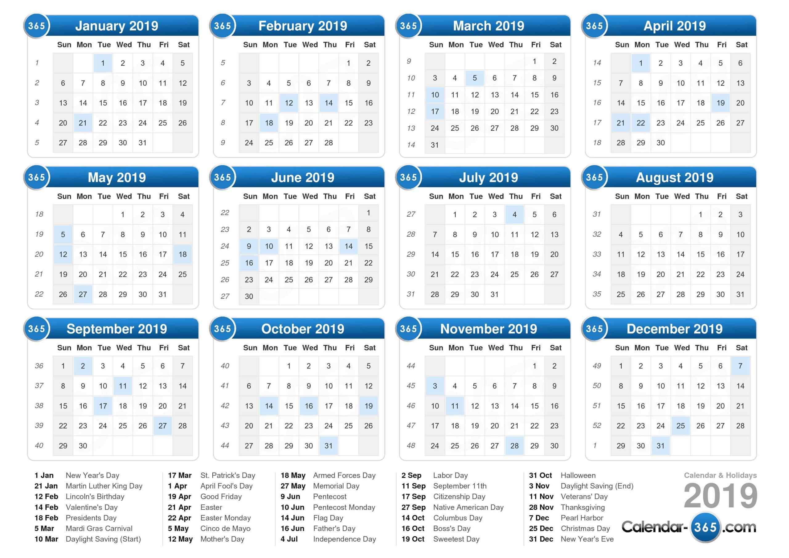 2019 Calendar  Weeknum Calendar