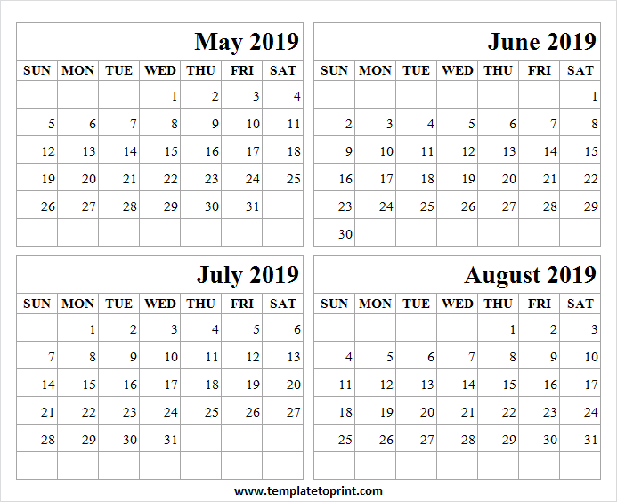 2019 May August Printable Calendar   May June July  May June July With Notes Printable