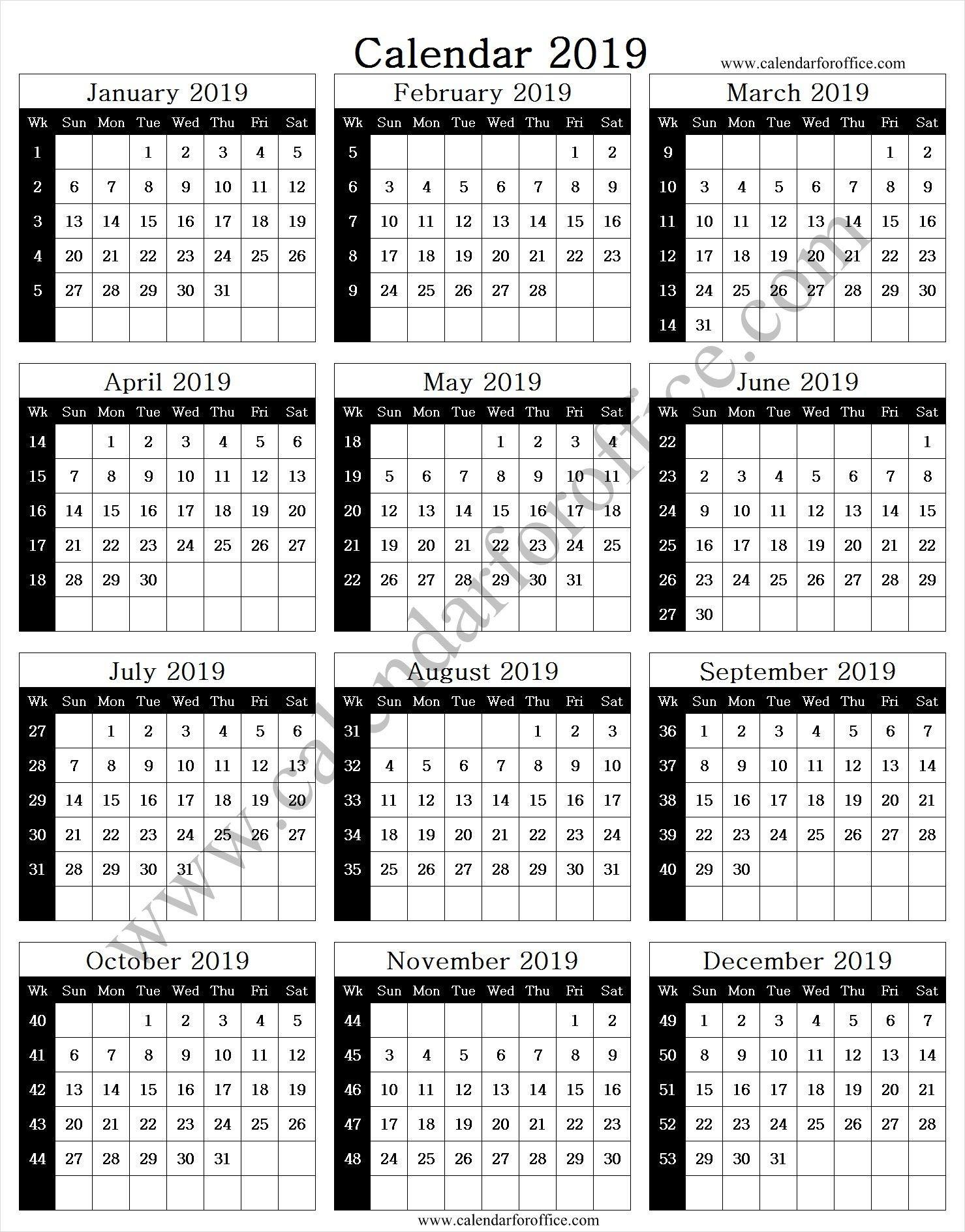 2019 Year Calendar With Week Numbers | Calendar With Week  Weeknum Calendar