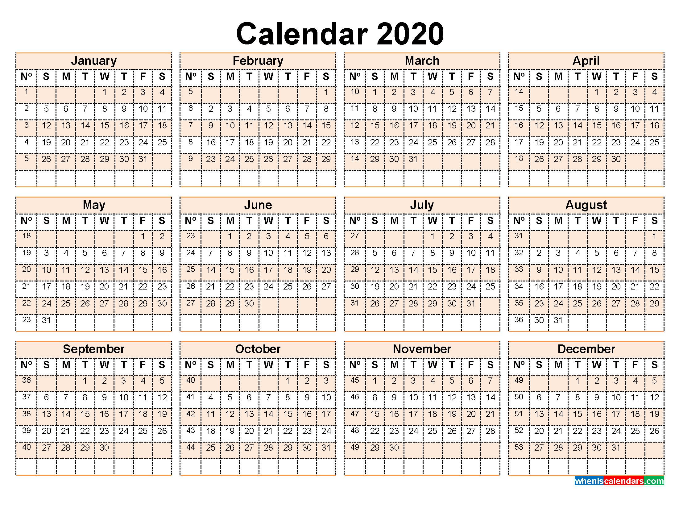 2020 Calendar With Week Numbers Printable Word, Pdf  Calendar By Week Number Pdf