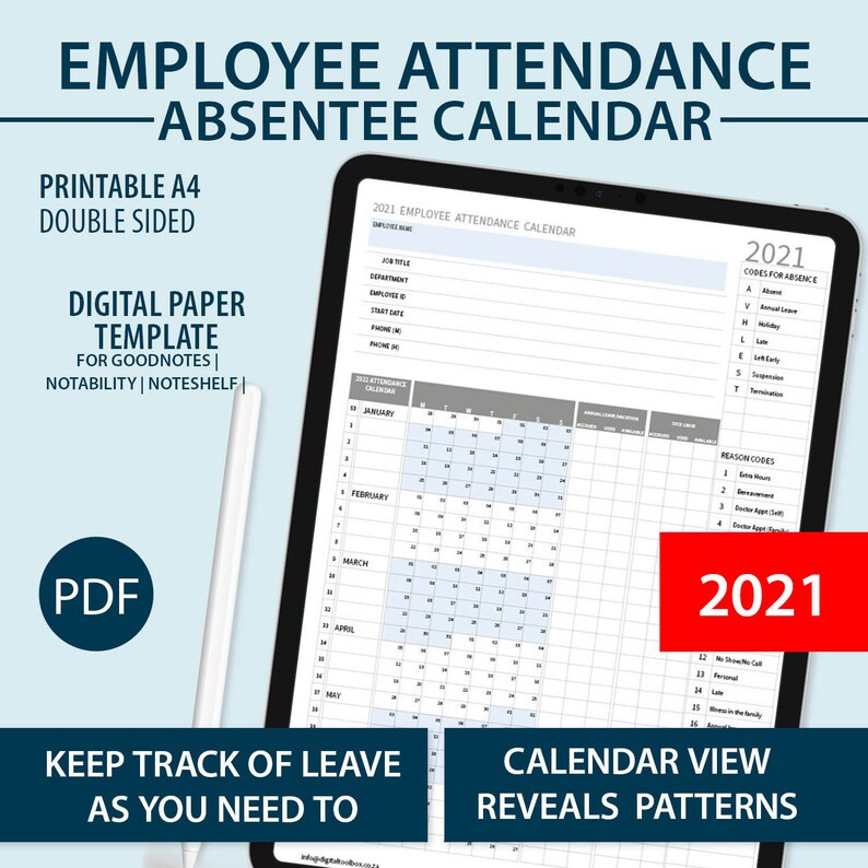 2021 A4 Printable Employee Attendance Absentee | Etsy  Employee Attendance  Calendar Free Printable 2021