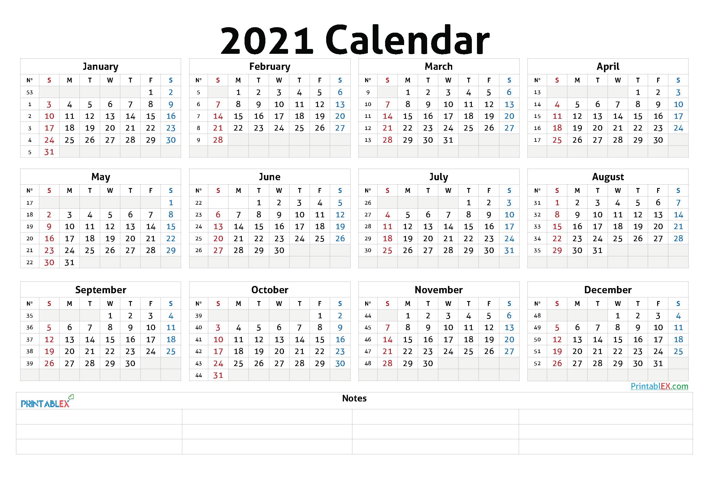 2021 Annual Calendar Printable - 21Ytw47  2021 Yearly Calendar Printable Free With Notes