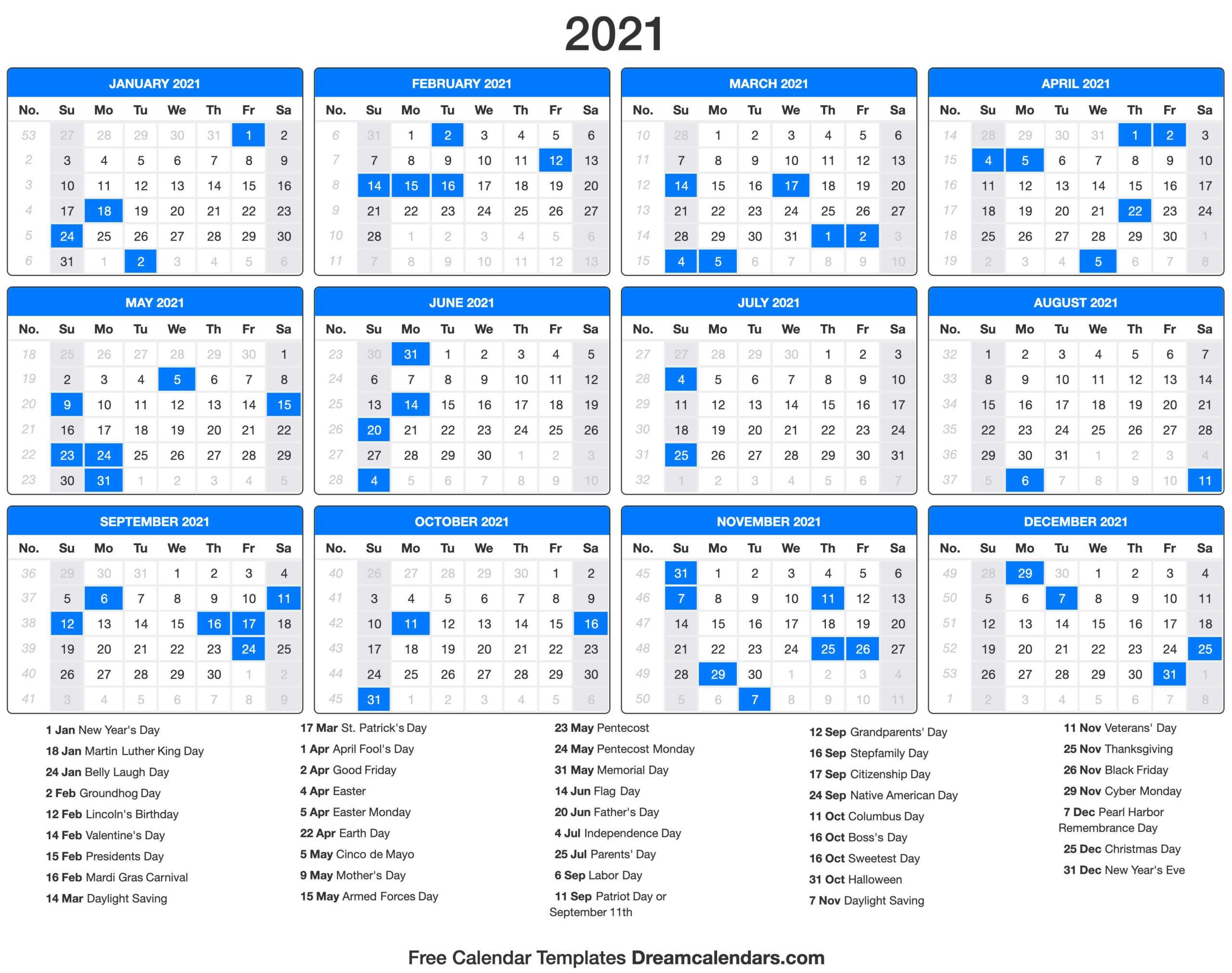 2021 Calendar  Free Printable Calendar 2021 Without Download