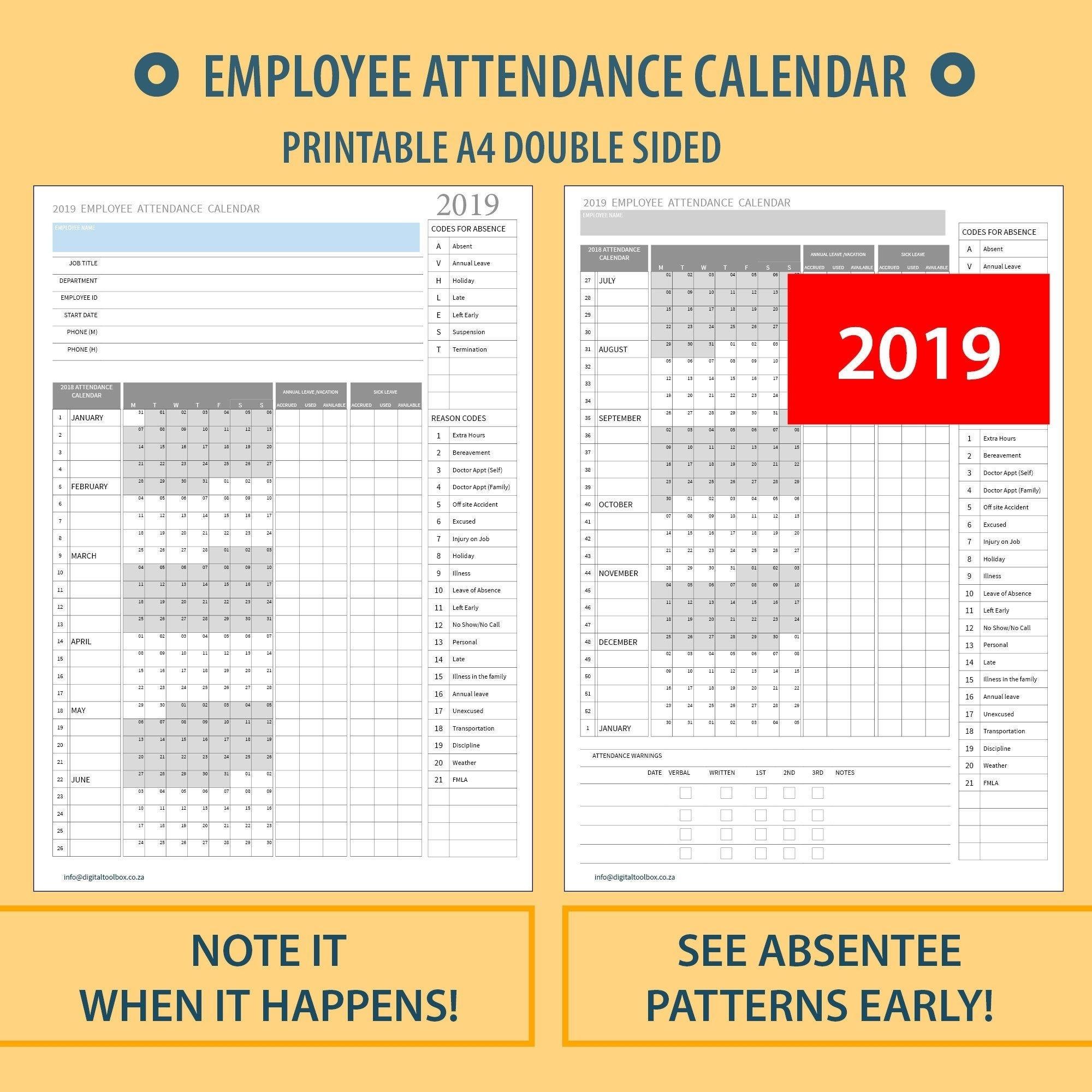 2021 Employee Absentee Calendar Printable - Calendar  Employee Attendance  Calendar Free Printable 2021