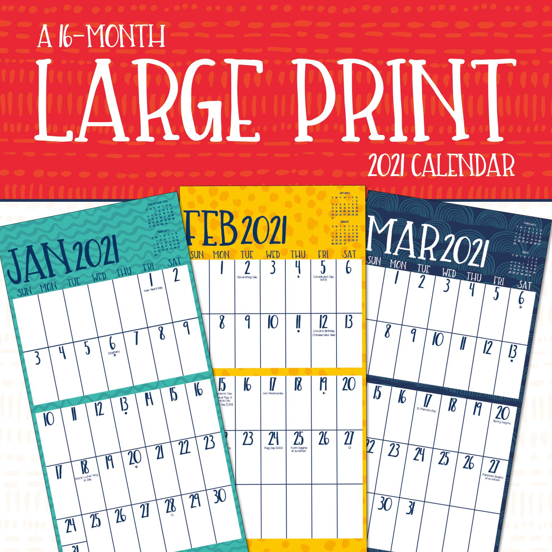 2021 Large Print Wall Calendar - Walmart - Walmart  2021 Daily Wall Calendar Free