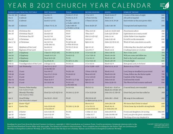 2021 Liturgical Color Calendar | Calendar 2021  Episcopal Liturgical 2021 Calendar Printable