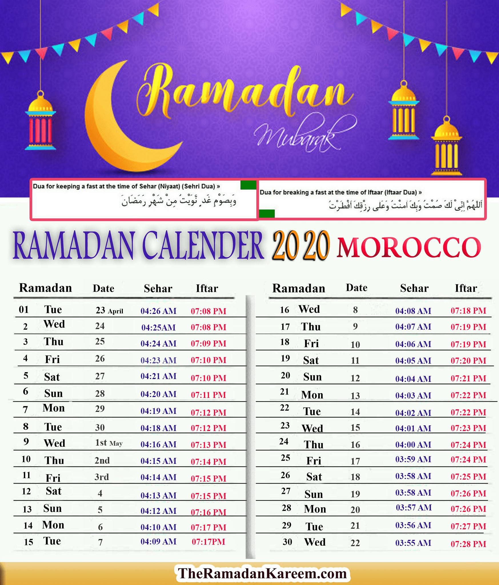 [2021] Morocco Ramadan Timetable - *Calendar Fasting  Printable Muslim Prayer Times Whole Year 2021