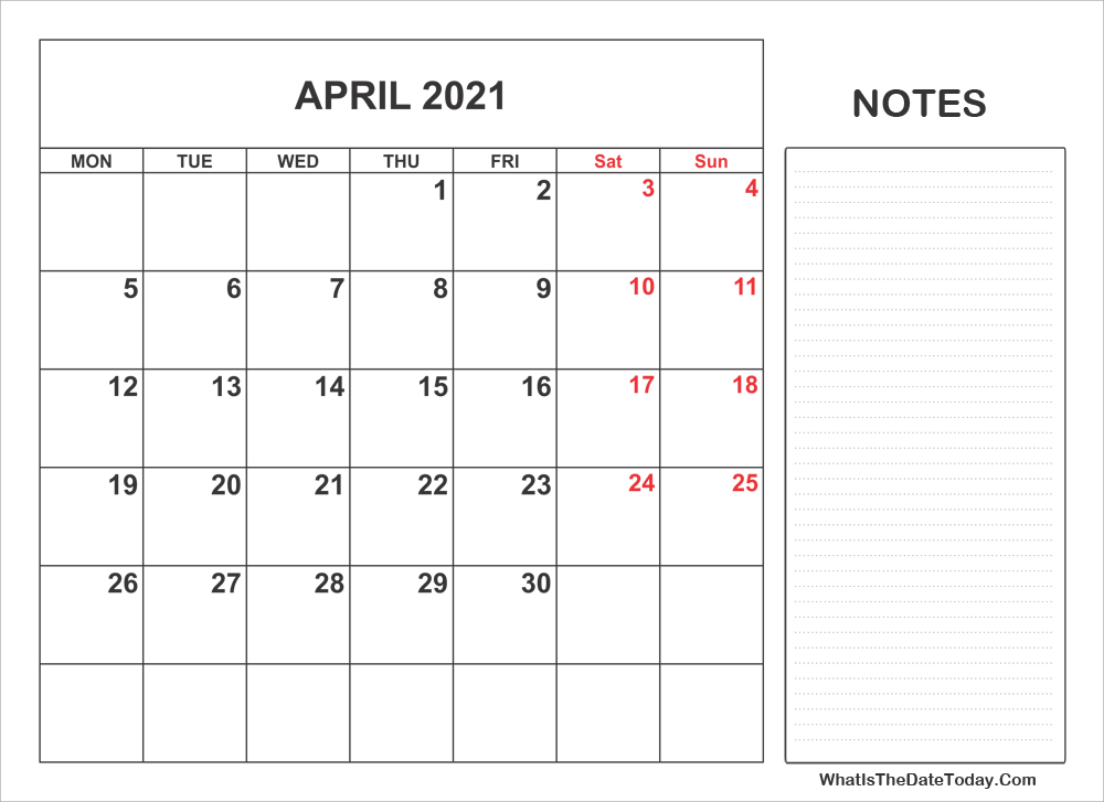 2021 Printable April Calendar With Notes  2021 Tax Week Numbers