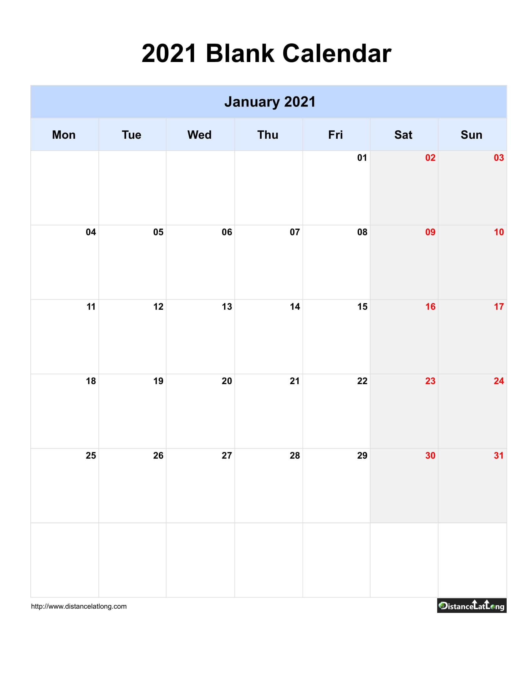 2021 Printable Calendar Monthly Portrait   Printable  Free Blank Printable Monthly Calendar 2021