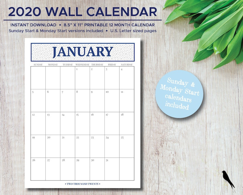 2021 Printable Monthly Wall Calendar With Large Grid For  2021 Daily Wall Calendar Free