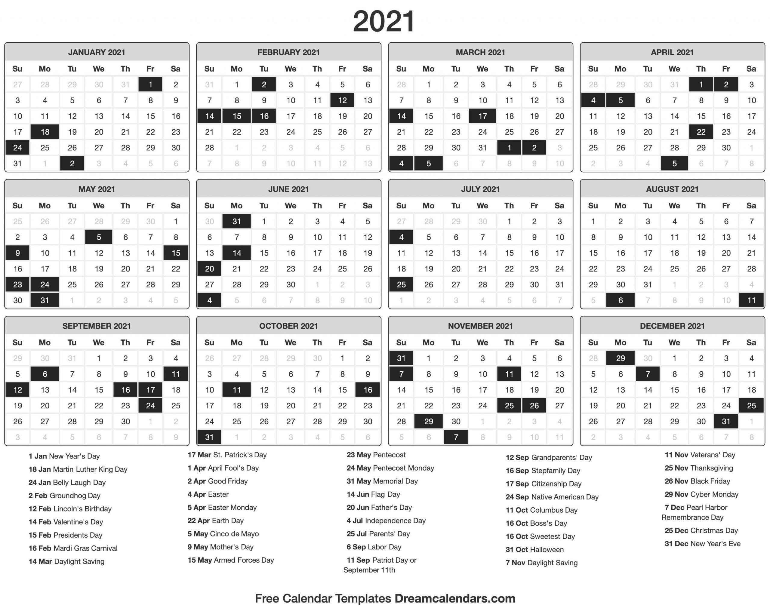 2021 Vacation Calandar | Calendar Template Printable  Printable 2021 2021 Depo Calendar