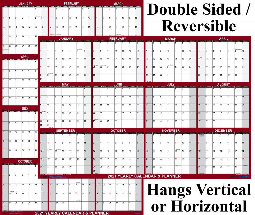 "2021 Wall Calendar 24"" X 36"" Reversible Swiftglimpse Maroon  2021 Daily Wall Calendar Free"
