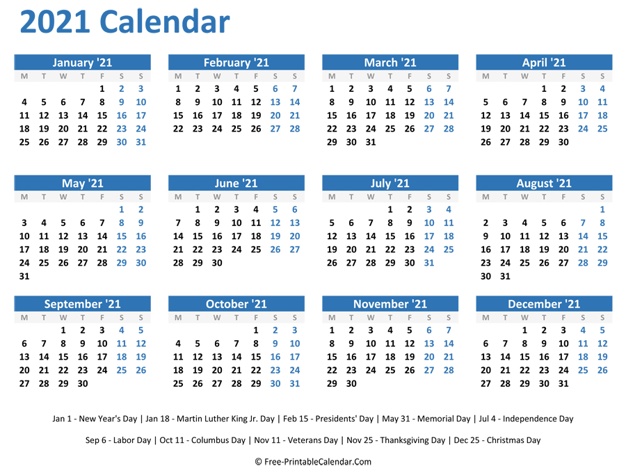 2021 Yearly Calendar  Free Printable Calendar 2021 Without Download