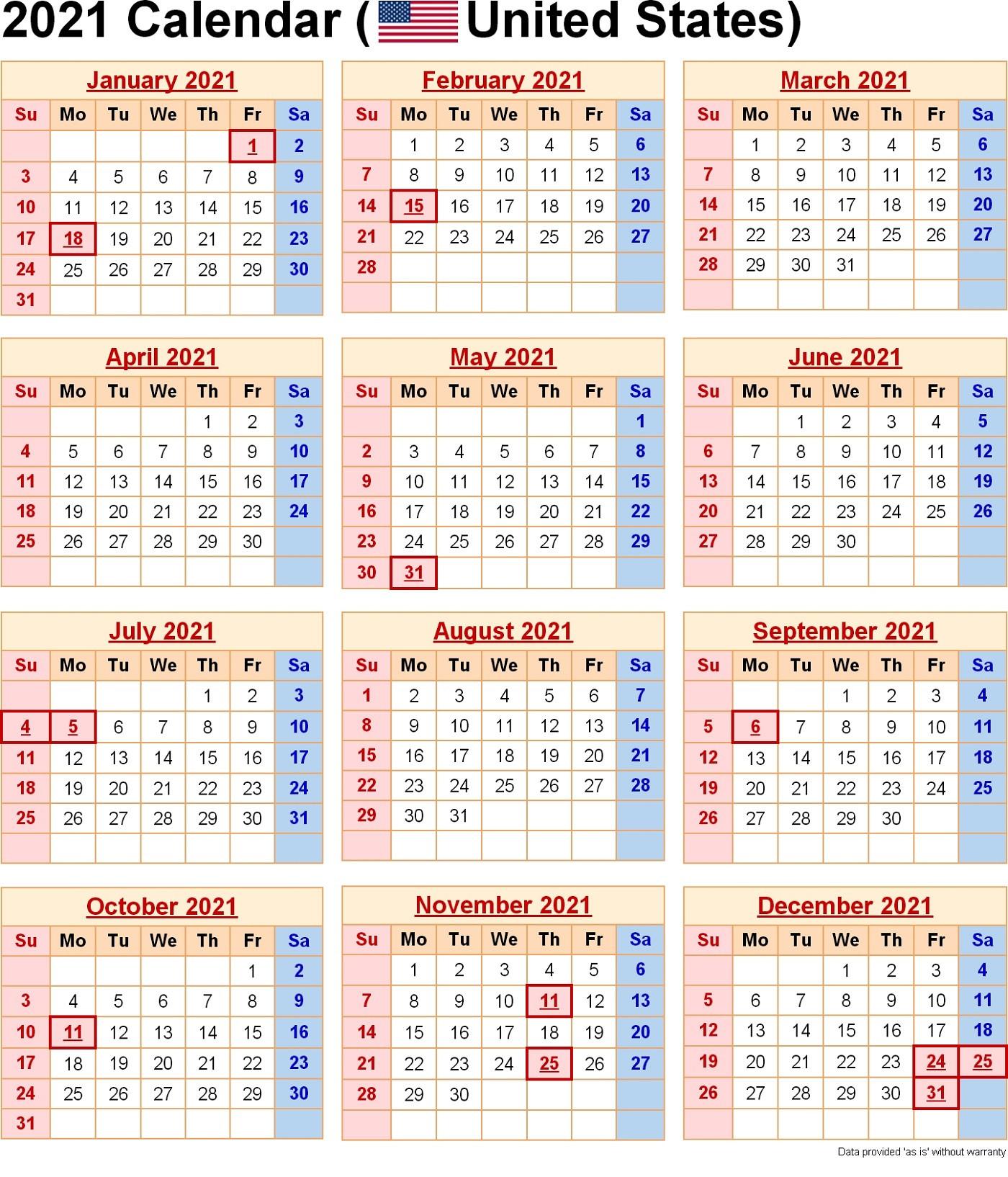 2021 Yearly Calendar With Holidays Templates | 101 Activity  Printable 2021 2021 Depo Calendar