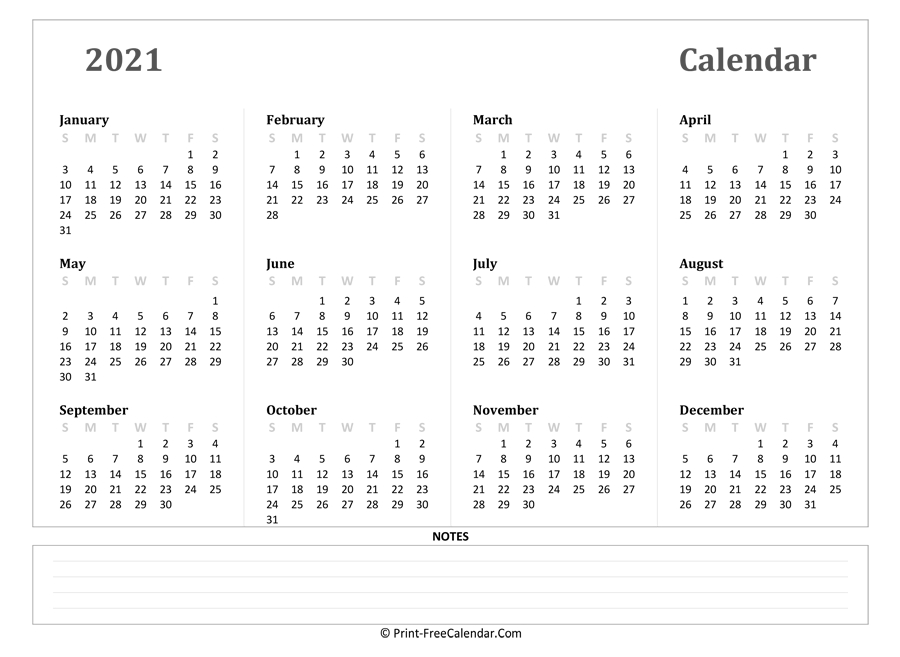 2021 Yearly Calendar With Notes (Landscape Layout)  2021 Yearly Calendar Printable Free With Notes