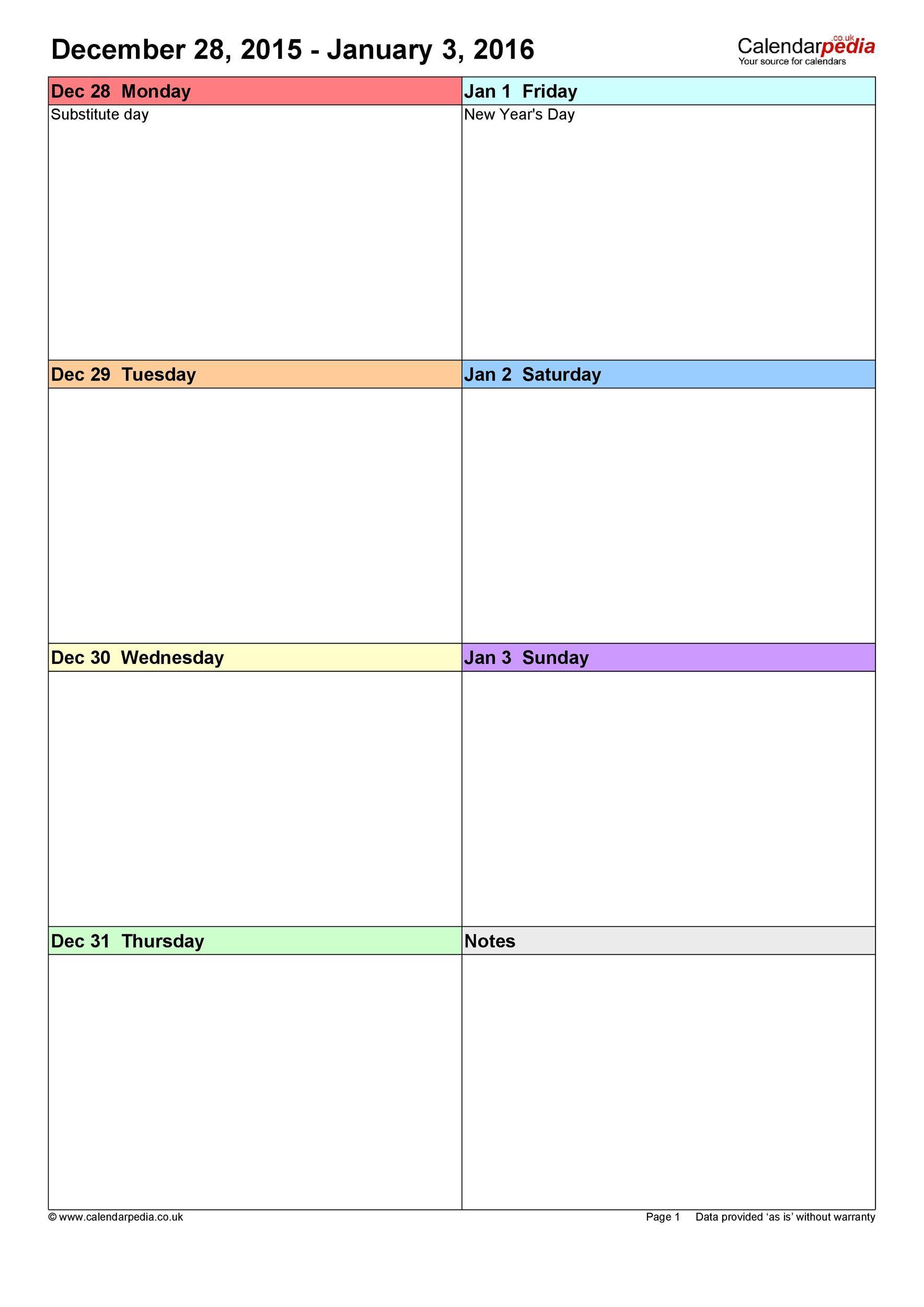 26 Blank Weekly Calendar Templates [Pdf, Excel, Word] ᐅ  Editable 7 Day Planner