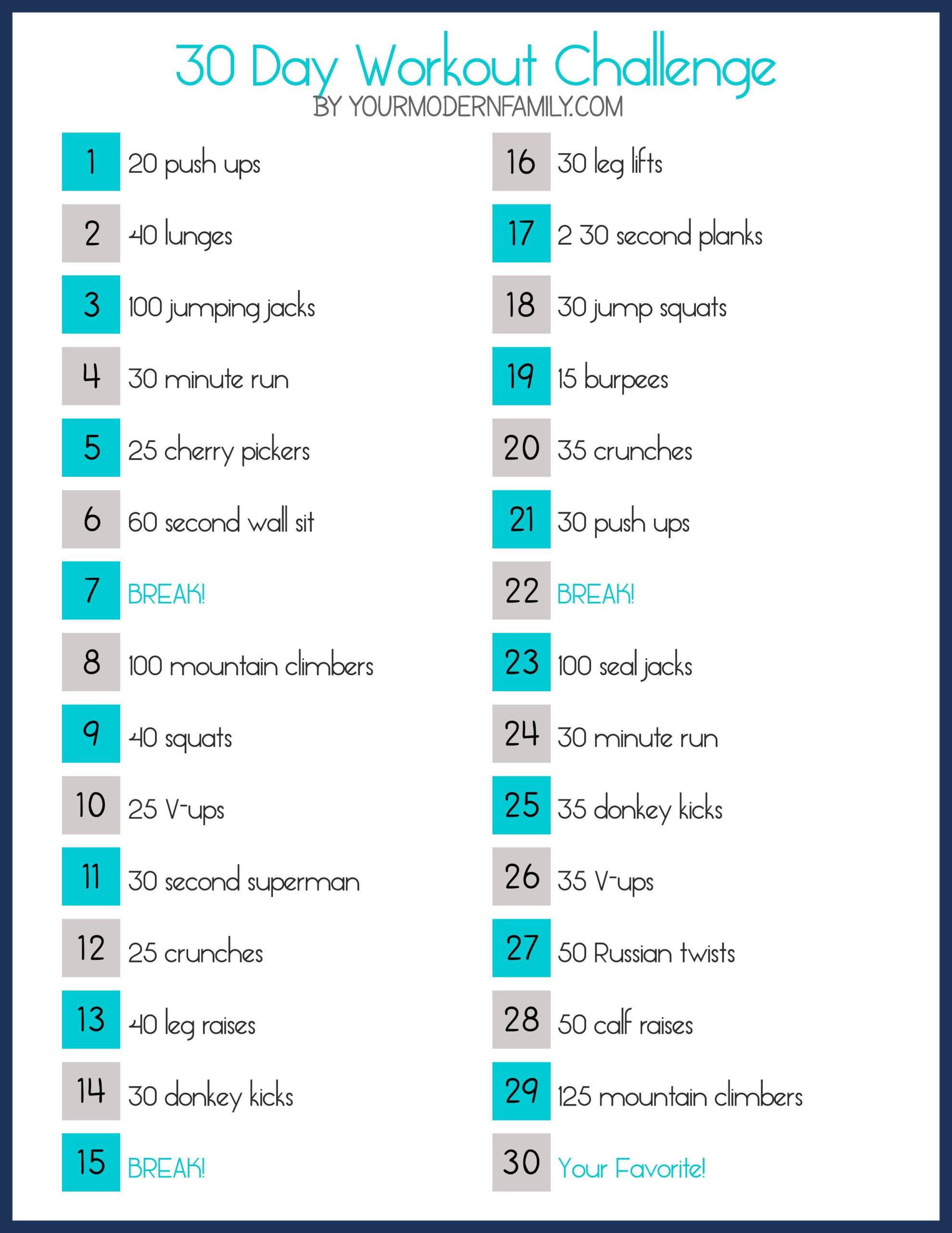 30 Day Slim Down Fitness Challenge (Free Printable) | 30  30 Day Fitness Calendar