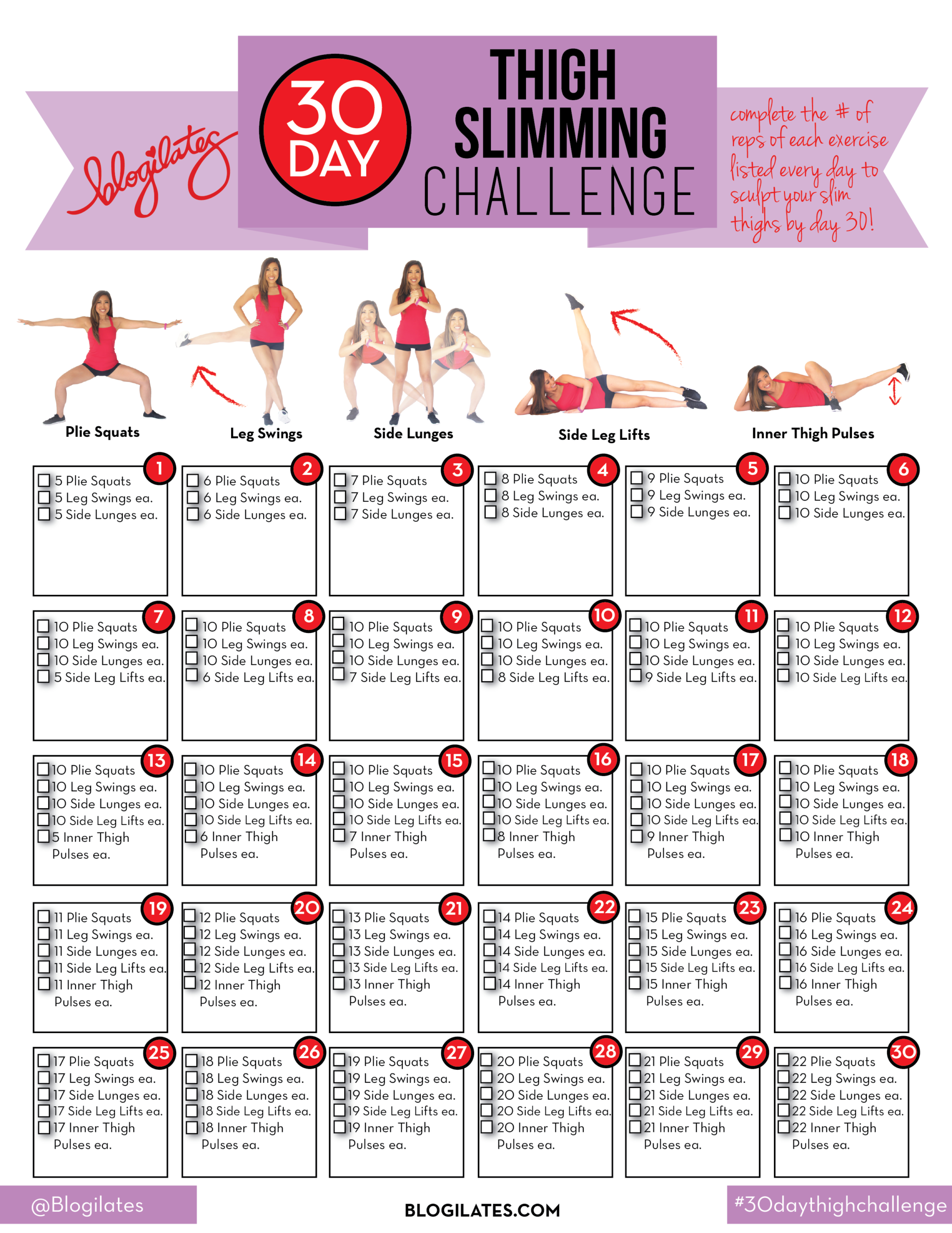 30 Day Thigh Slimming Challenge!  30 Day Fitness Calendar