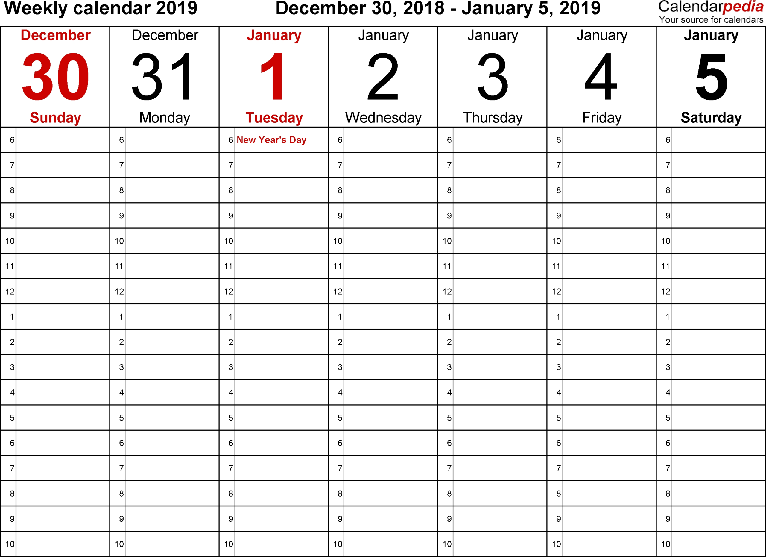 5 Day Week Blank Calendar With Time Slots Printable  Printable Calendar With Time