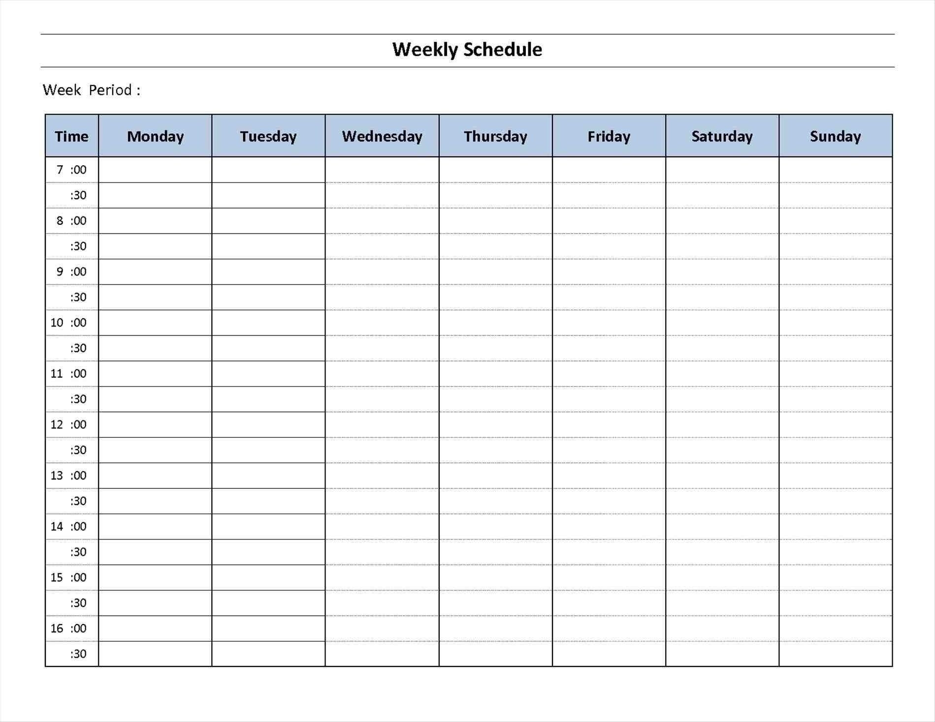 7 Day Calendar Template Excel   Free Calendar Template Example  7-Day Weekly Planner Template