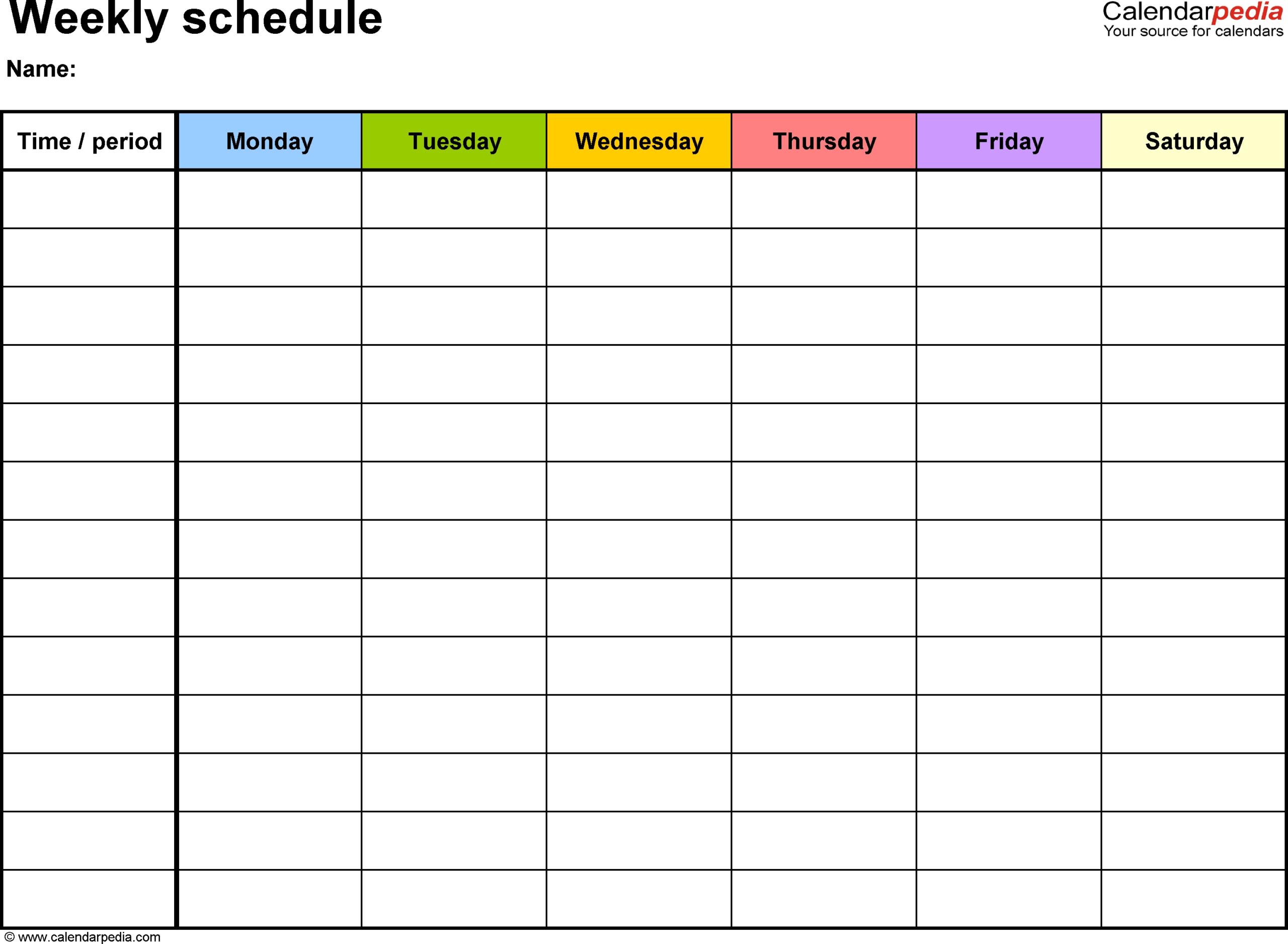 7 Day Week Calendar Template - Calendar Inspiration Design  7-Day Weekly Planner Template