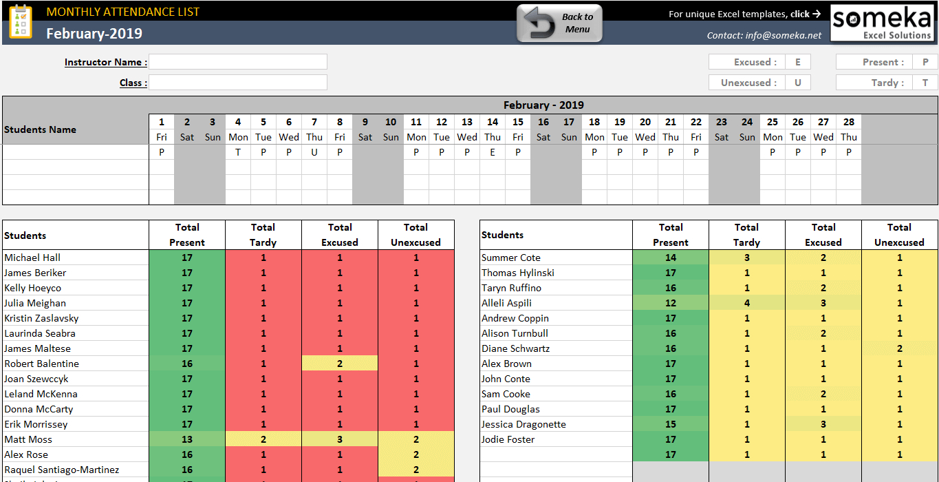 Attendance Sheet Template In Excel - Free Download  Attendance Log
