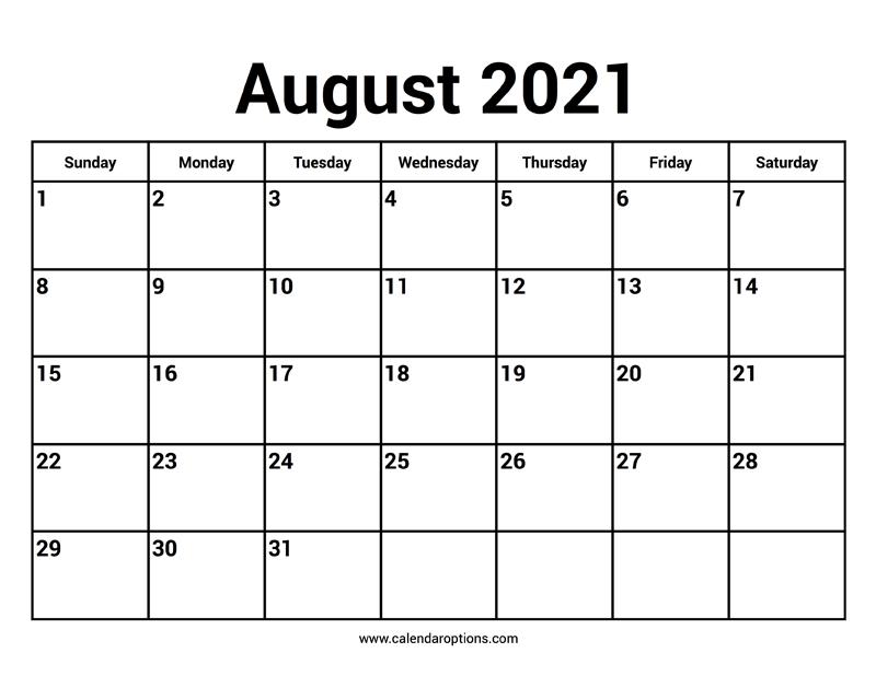 August 2021 Calendars - Calendar Options  12 Month Financial Year Calendar 18 To 19